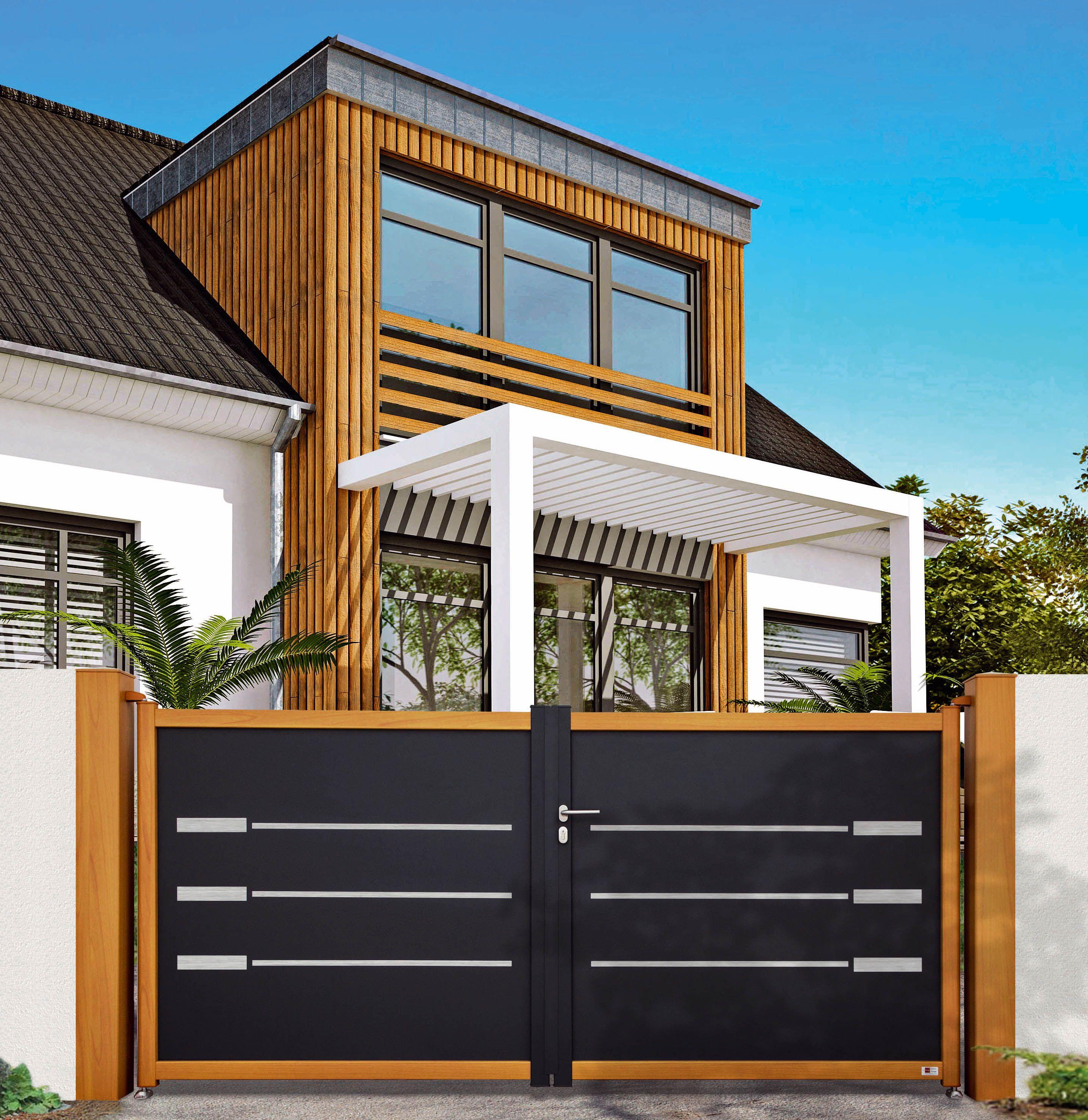 cofreco portail filigrane structure alu aspect bois inserts alu bross. Black Bedroom Furniture Sets. Home Design Ideas