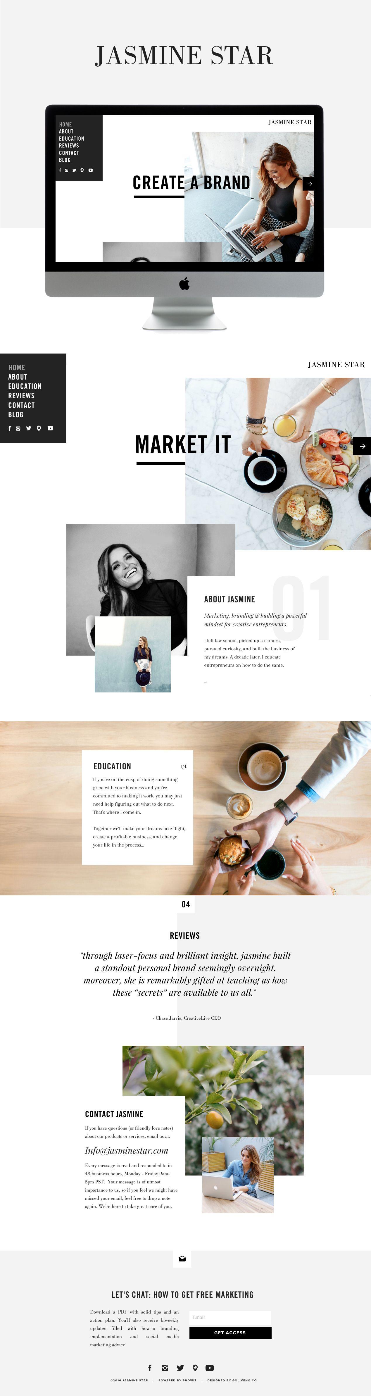 Jasmine Star Is Live On Showit Golive Squarespace Website Templates Web Design Tips Website Design Layout Web Layout Design
