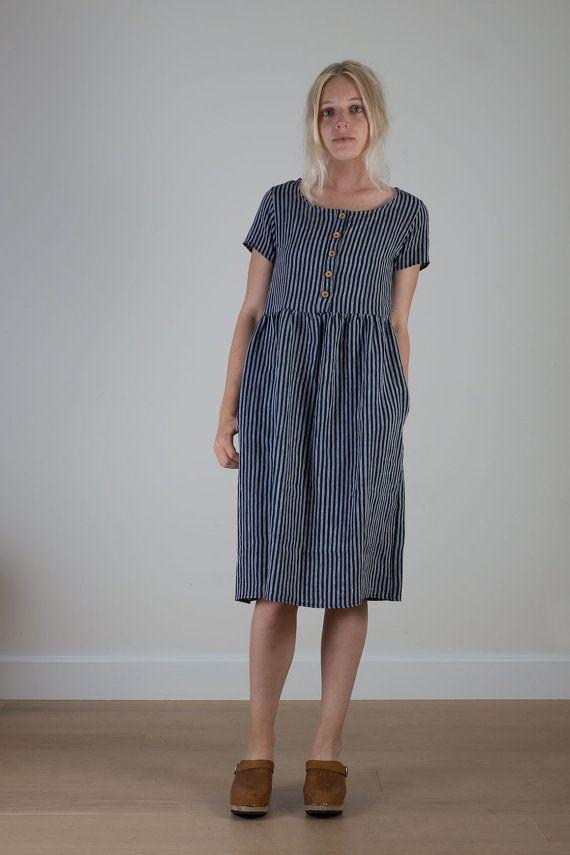 indigo gestreift bettw sche womens tageskleid von pyneandsmith clogslife kleidung kleider. Black Bedroom Furniture Sets. Home Design Ideas