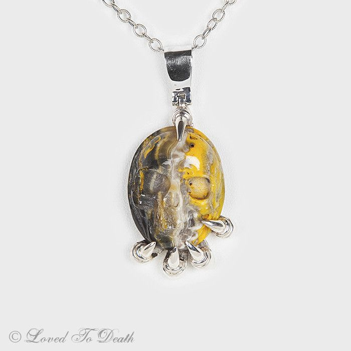 Bumblebee Jasper Carved Skull Sterling Claw Necklace