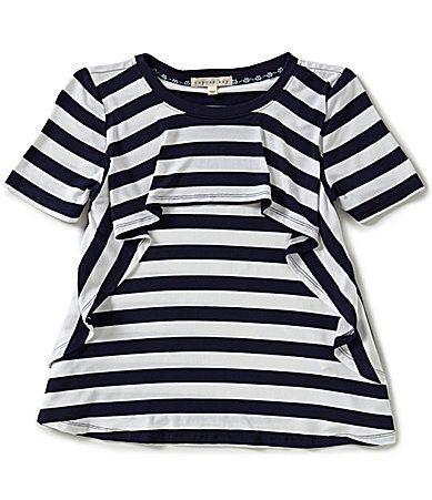 Copper Key Big Girls 716 Popover Stripe FlounceYoke Knit ShortSleeve Tee #Dillards