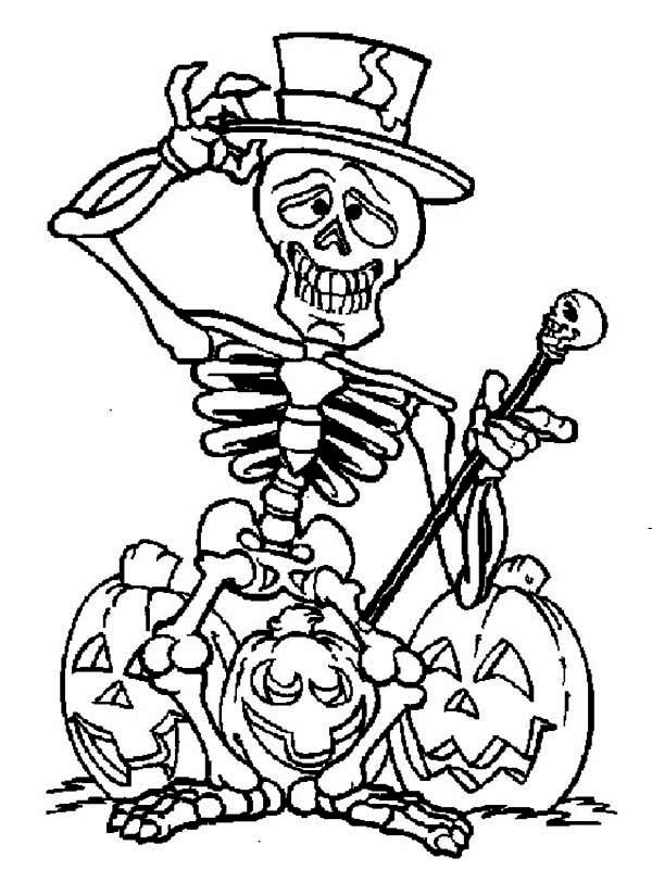 mr skull with a three pumpkin head coloring pages for kids printable halloween coloring pages for kids