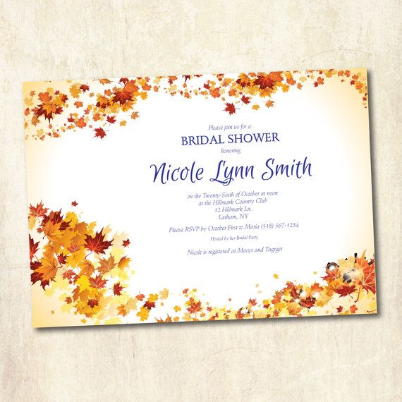 Diy printable bridal shower invitation autumn fall theme shower wedding shower bach party - Bridal shower theme ideas for fall ...
