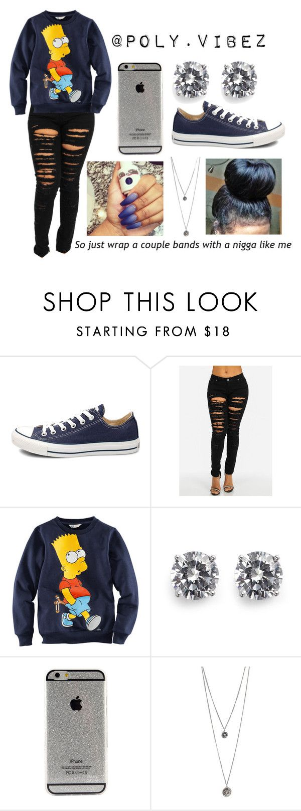 """""""Untitled #257"""" by xo-mindless ❤ liked on Polyvore featuring Converse, H&M and CZ by Kenneth Jay Lane"""