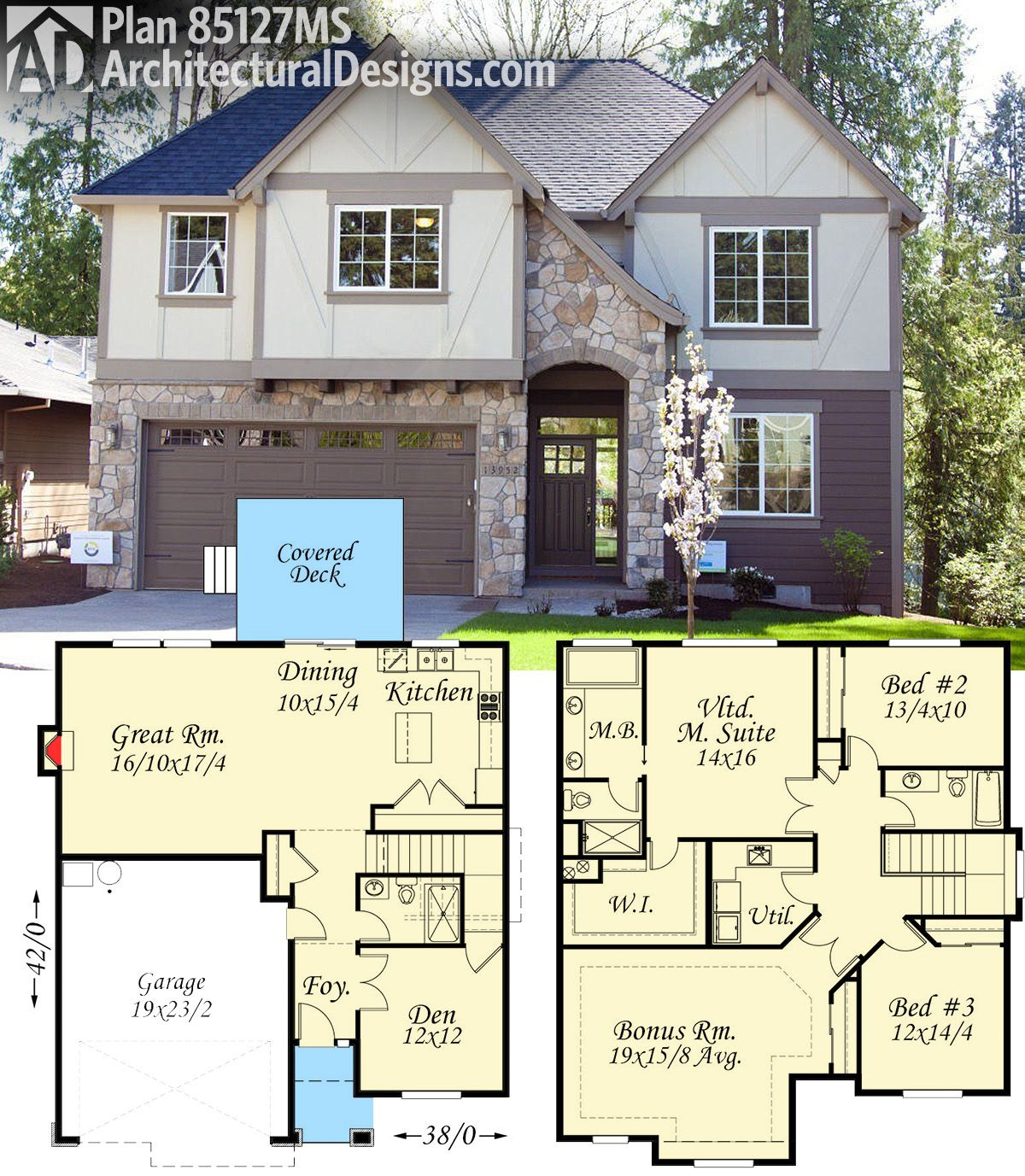 Plan 85127ms 3 bed tudor house plan with bonus room for House plans with bonus room upstairs