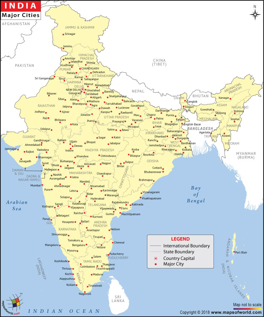 map of india with main cities Major Cities In India India Map States And Capitals Political Map map of india with main cities