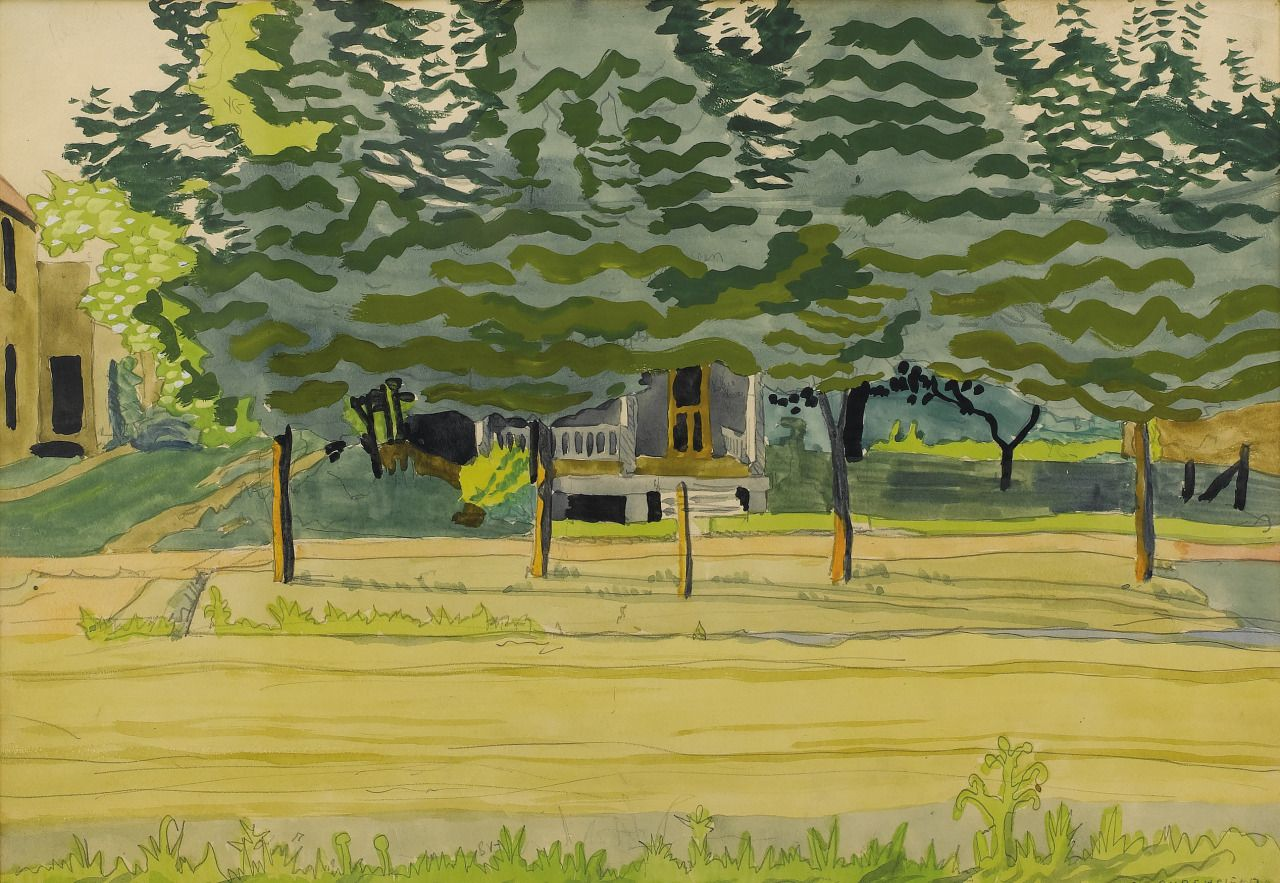 Charles Burchfield (American 1893-1967), Late Afternoon, 1916. Watercolor and pencil on paper, 14 x 20 in.