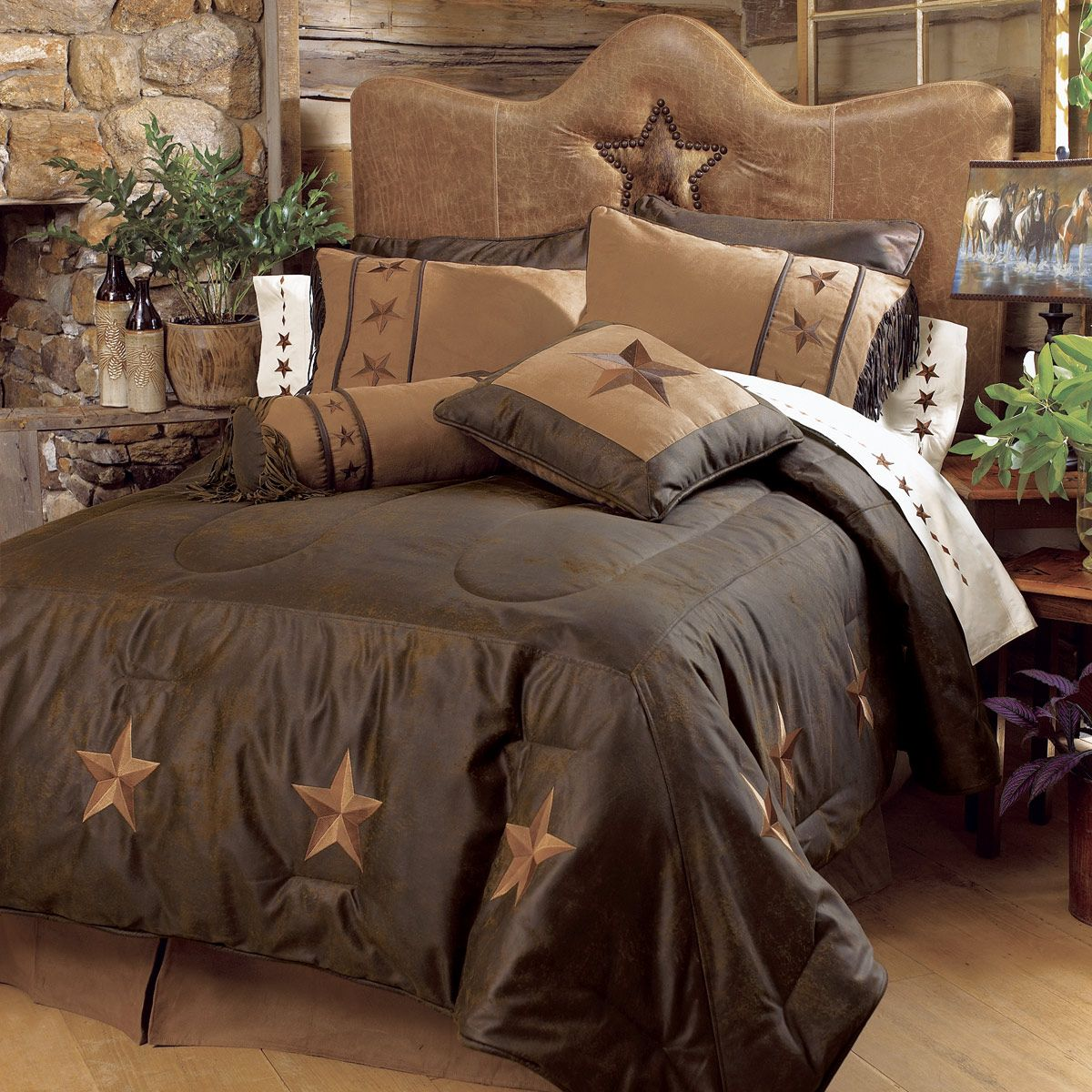 Laredo Chocolate Bed Set Super Queen Rustic Bedding Bedding Sets Western Bedding