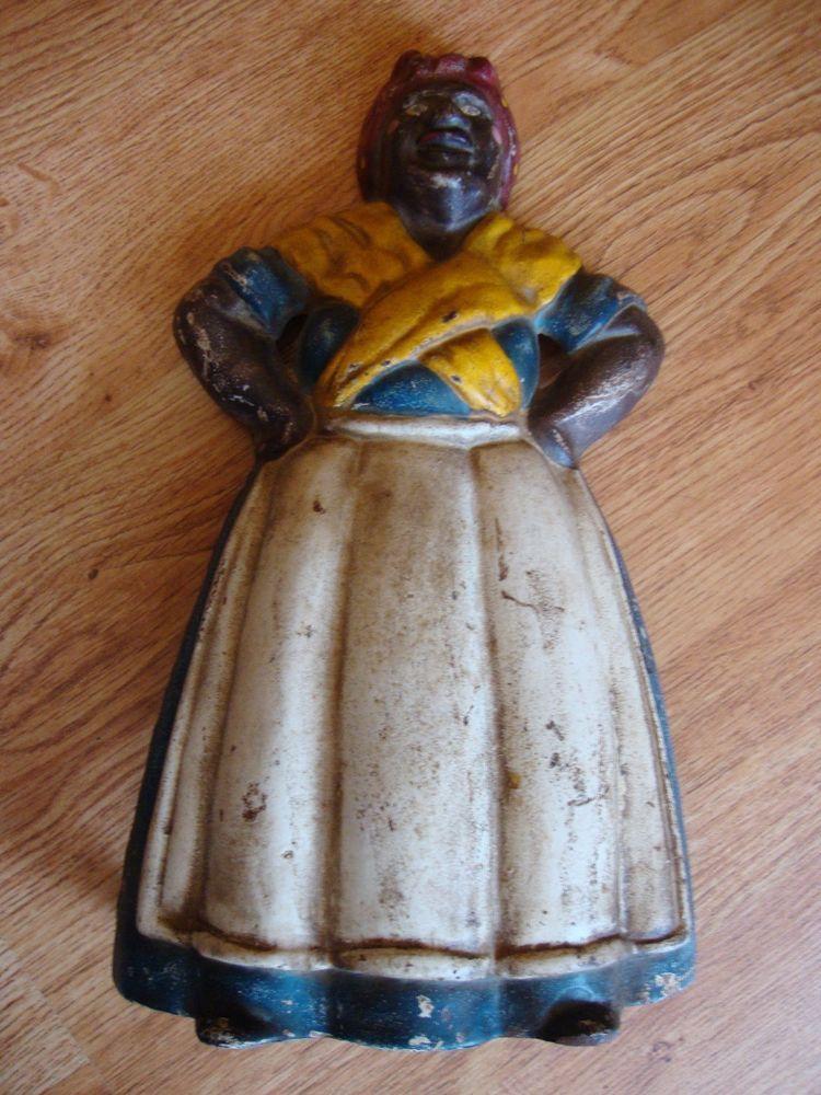 Vintage Cast Iron Aunt Jemima Mamie Door Stop 13