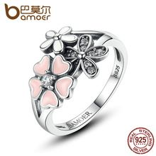 BAMOER 925 Sterling Silver Pink Flower Poetic Daisy Cherry Blossom Finger Ring for Women Engagement Fashion Jewelry SCR004(China (Mainland))