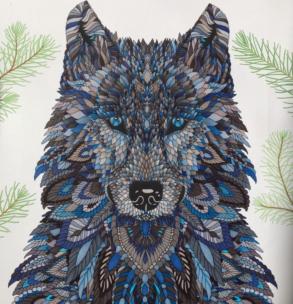 Wolf The Menagerie Animal Portraits To Color Colored By C Ishii Coloring Book Art Animal Coloring Books Color Pencil Art