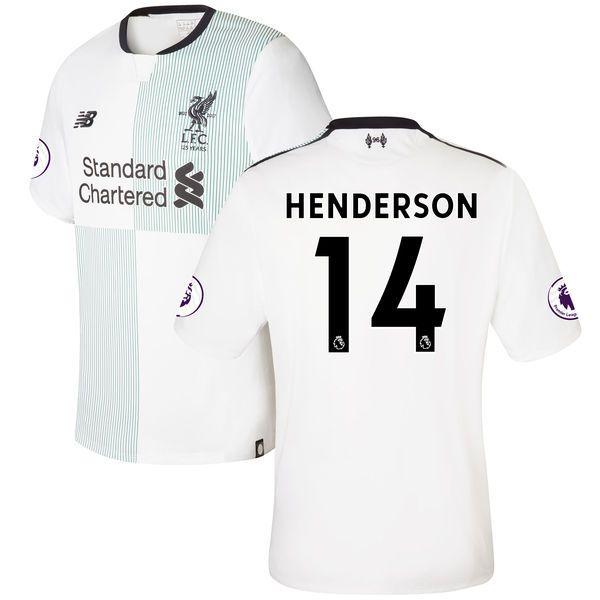02605c012 Jordan Henderson Liverpool New Balance 201718 Away Elite Authentic Patch  Jersey - White ...