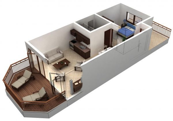 Good One Bedroom Apartment Floor Plans 3d With Floor Plan--Kitchen