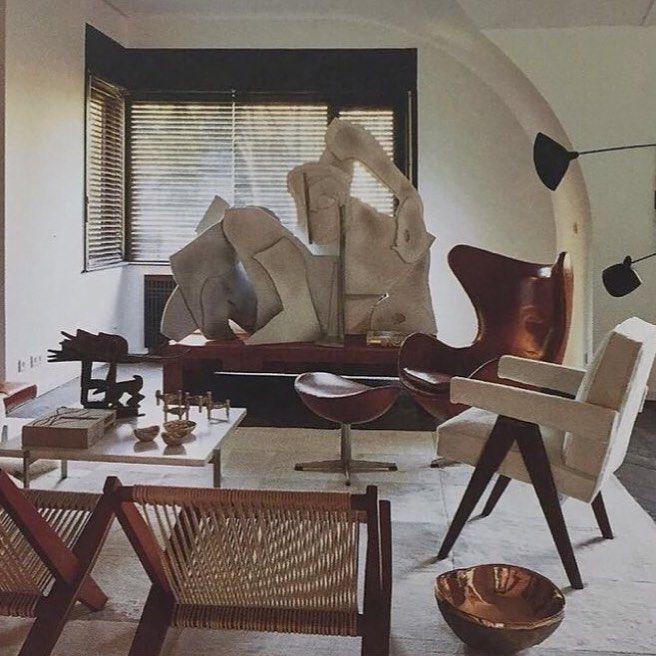 """Fiona Fidder's Instagram post: """"A space filled with exquisite pieces. #interiors #interiordesign #vintage #midcentury #midcenturymodern #pierrejeanneret #sergemouille #art…"""""""