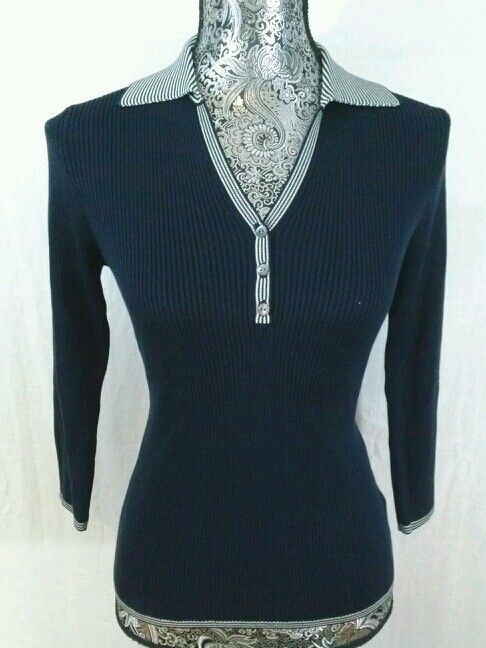 8f89283bebe94 BROOKS BROTHERS 100% SILK NAVY WHITE S KNIT TOP BLOUSE HENLEY COLLAR NWOT  FITTED  BrooksBrothers  KnitTop  Career