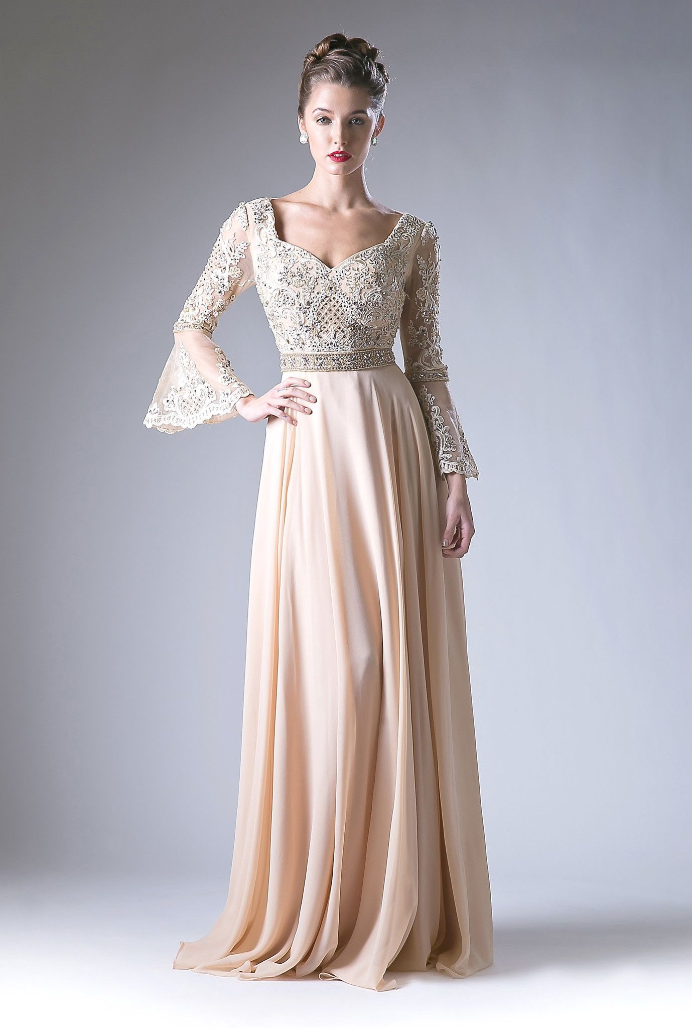 Look And Feel Incredible In This Long Embellished Bell Sleeve Dress