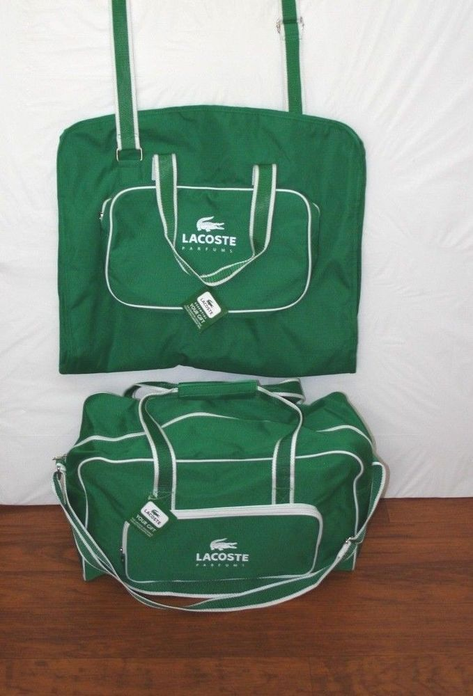 New Lacoste Parfums Garment Bag And Duffle Weekender Set Green White Travel Thesmartpe
