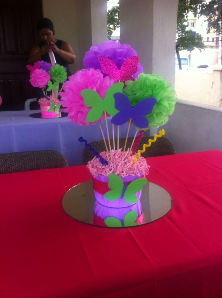 Centro de mesa de mariposas mariposas centros de mesa - Mesas para cumpleanos infantiles ...
