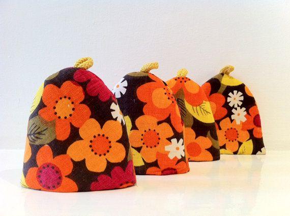 Vintage Retro Egg Cosies Orange Flowers by rebeccaheartsvintage, £10.00