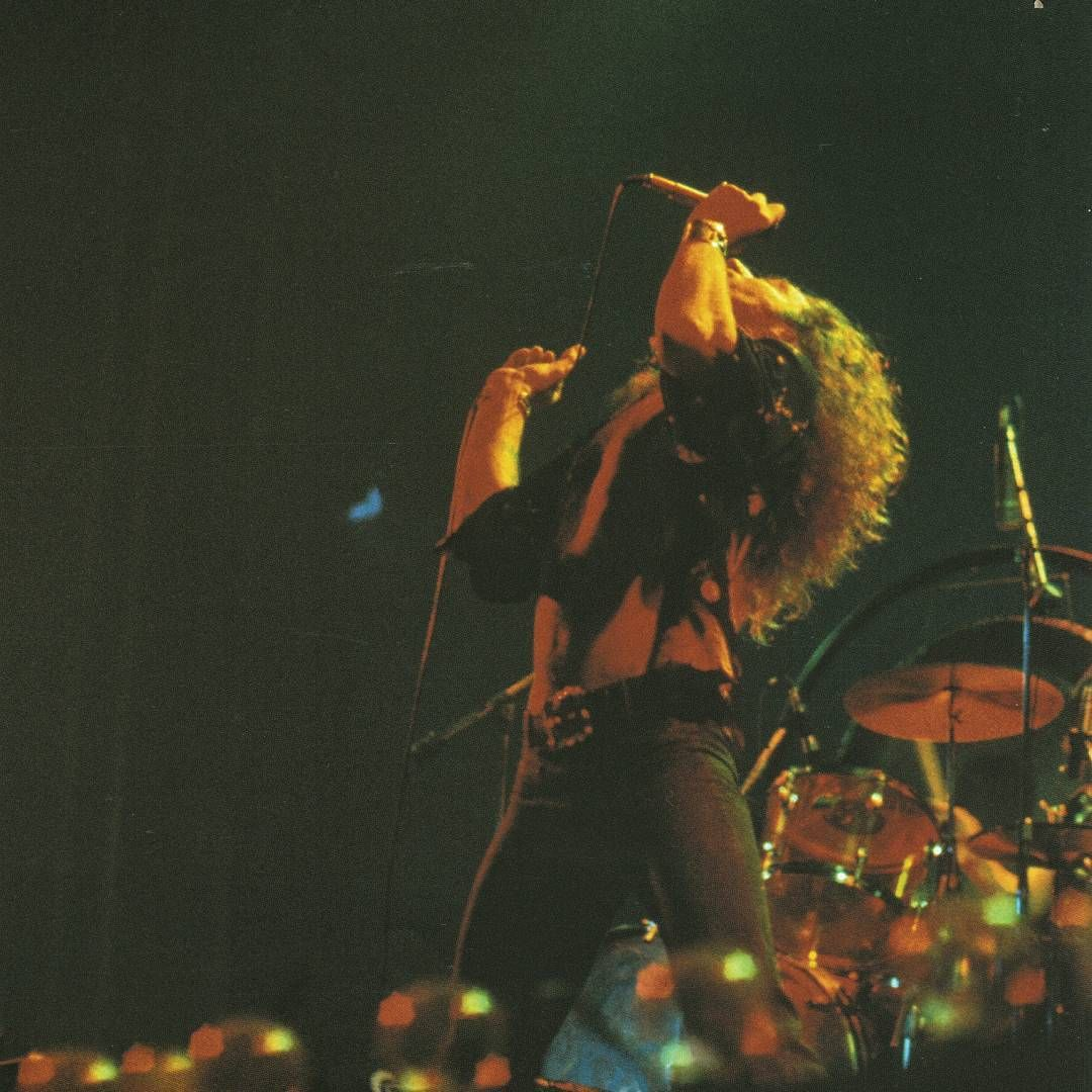 Robert Plant on stage at Earls Court 1975. (Ian Dickson).