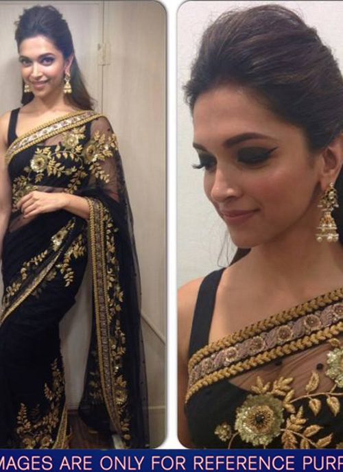 e59f5f9e2655df Deepika Padukone Black Party Wear Designer Saree | Indian Trendz ...