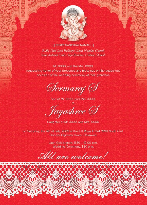 Indian Wedding Card 01 - 3 colors by Studio Designs on - best of invitation card format for griha pravesh