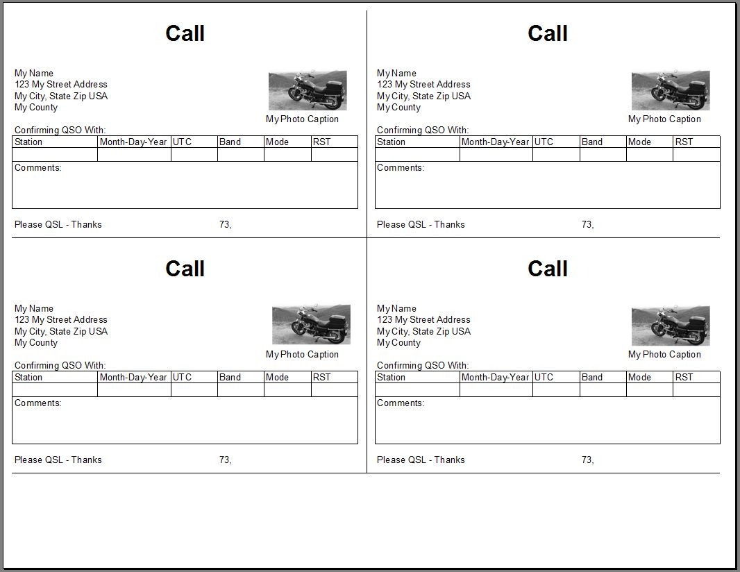 Qsl Cards From Excel Spreadsheet Throughout Qsl Card Template Cumed Org Card Template Free Business Card Templates Business Plan Template