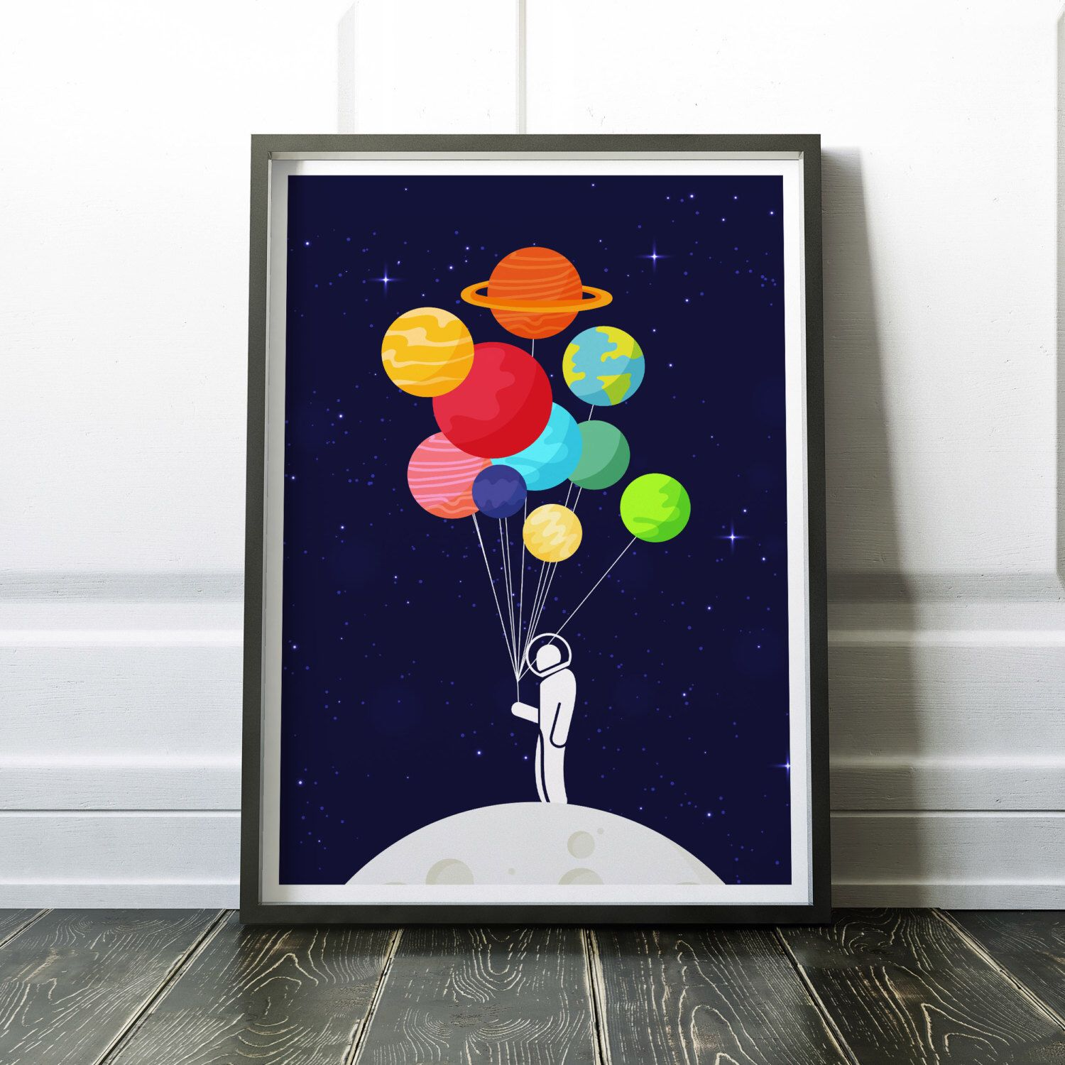 Lonely Astronaut Print  Solar System Print  Astronaut Poster,