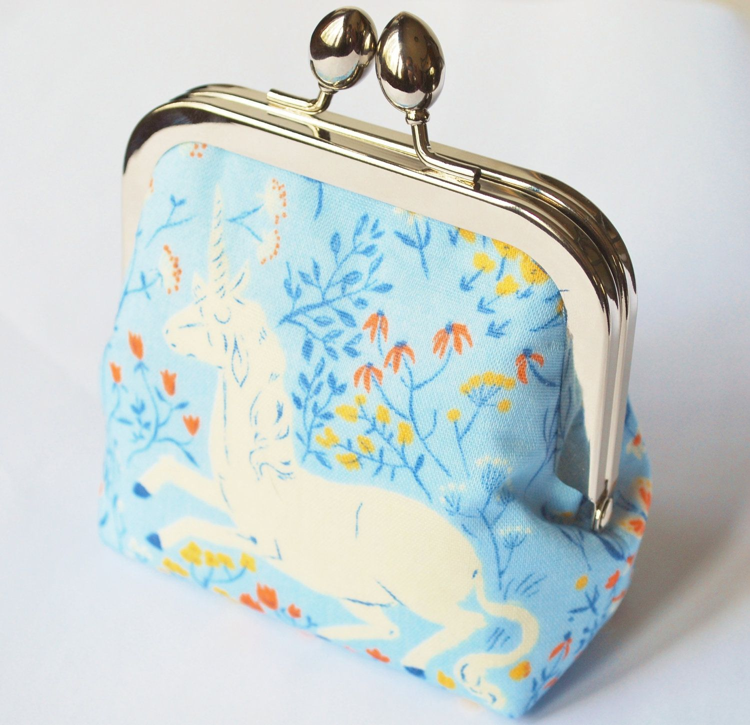 Coin Purse Unicorn and Wildflowers, Small Makeup Bag