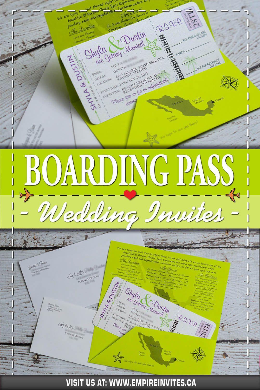 Neon Green Boarding pass wedding invitations for a destination wedd… |  Boarding pass wedding invitation, Unique destination wedding invitations, Wedding  invitations