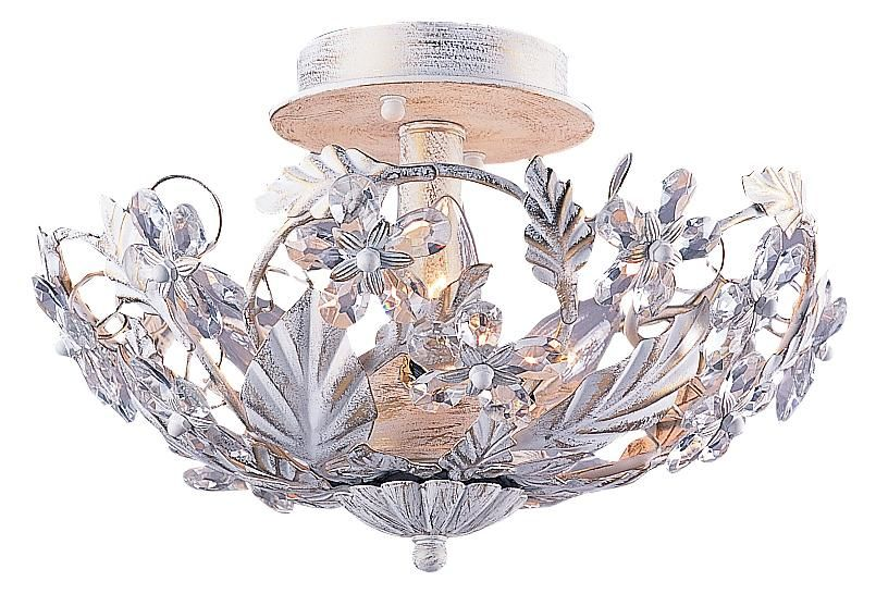 Crystal Flowers 12 Wide Antique White Ceiling Light Fixture Glo Lampsplus