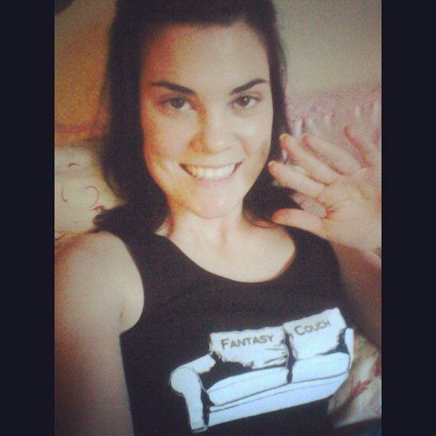Claire sporting her Couch tank!