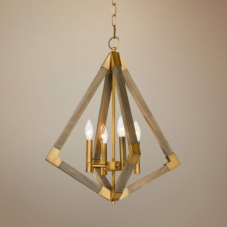 Vector 19 1 4 W Weathered Oak W Antique Brass Pendant Light 67p35 Lamps Plus In 2020 Antique Brass Pendant Light Brass Pendant Light Pendant Light