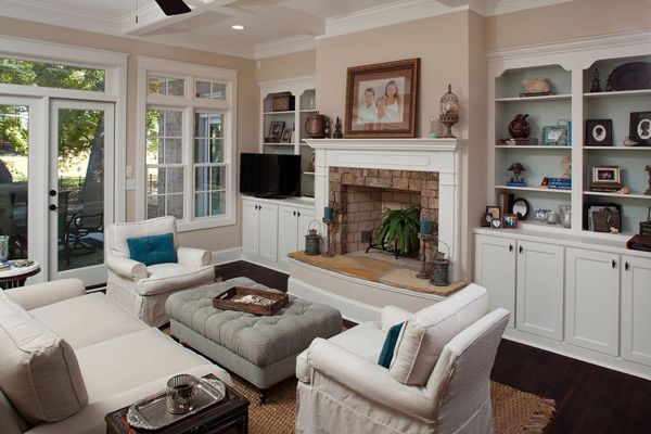 Furniture arrangement around fireplace and tv home deco furniture around fireplace - Open concept living room furniture placement ...