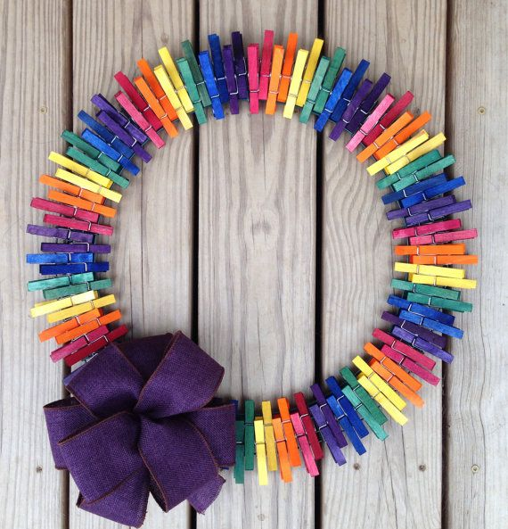 Rainbow Clothespin Wreath On Etsy 25 00 Clothespin