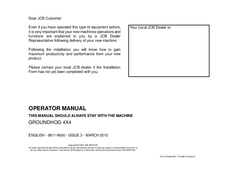 Jcb Groundhog 4x4 Operation And Maintenance Manual Pdf Download Operation And Maintenance Repair Manuals Manual
