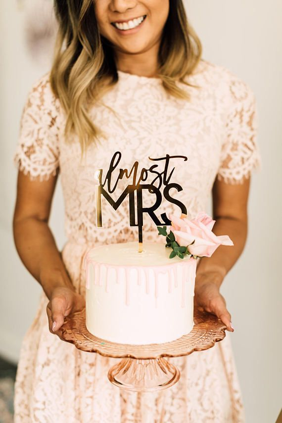 "Almost Mrs Laser Cut Bridal Shower Cake Topper - 5.5"" Acrylic Cake Topper, Custom Bridal Shower Sign, Engagement Decor, Trendy Design"