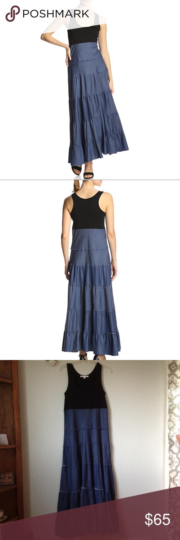 Karen By Karen Kane Chambray Tiered Maxi Dress Med Tiered Maxi Dress Clothes Design Karen Kane Dress [ 1740 x 580 Pixel ]