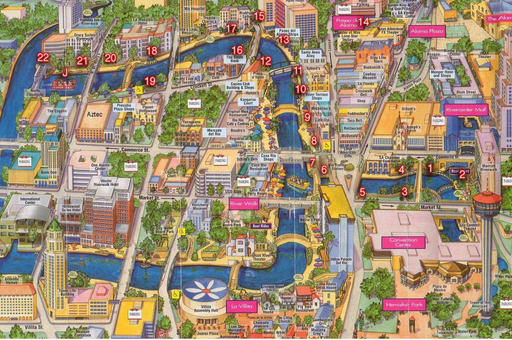 Map Of San Antonio Riverwalk Map of downtown and SA River. | San Antonio, Tx. & Surrounding