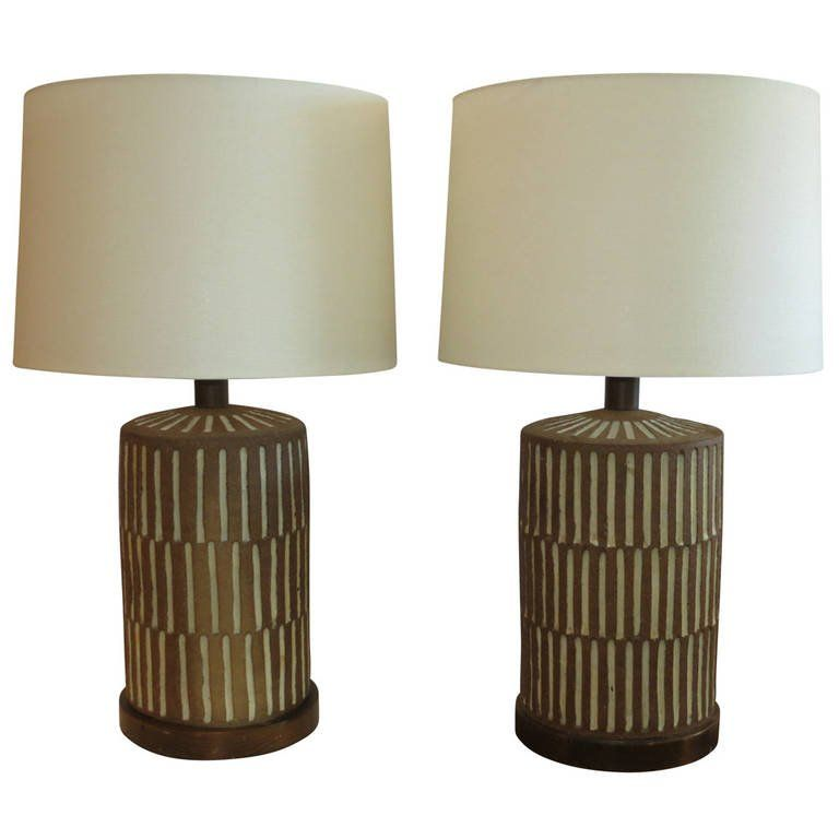Pair Of Brent Bennett Pottery Lamps At 1stdibs Vintage Table Lamp Lamp Pottery Lamp