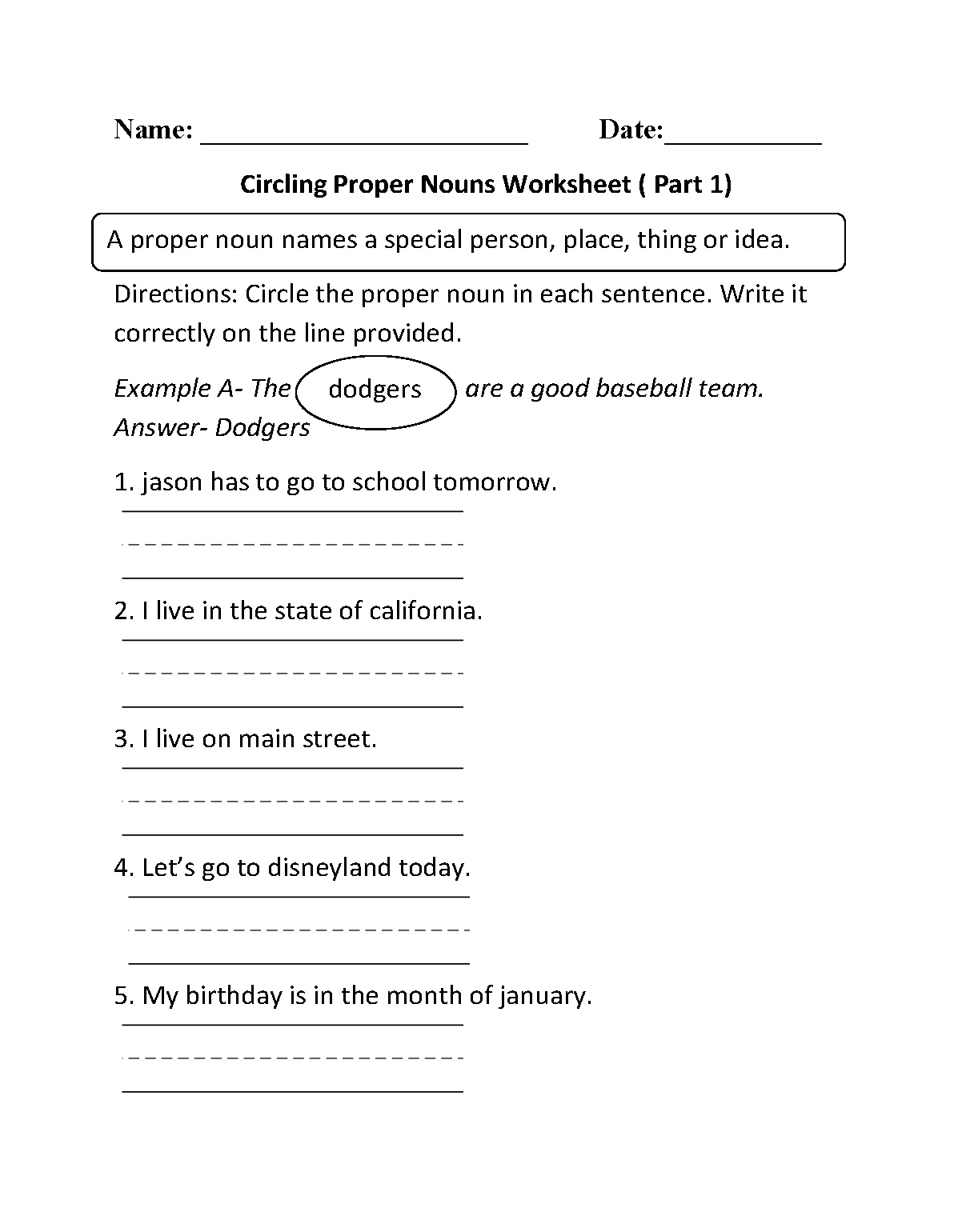 Circling Proper Nouns Worksheet Part 1