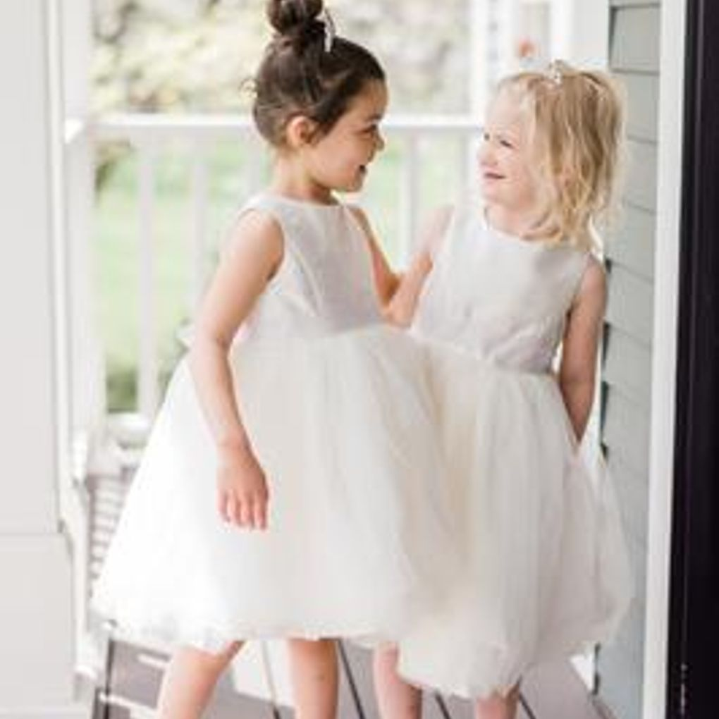 20a8405b28b5 Flower Girl Dress with Tulle and Ribbon Waist Style OP218