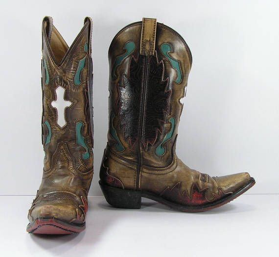 639902422135 vintage cowboy boots women s 7 M B brown turquoise white cross ...