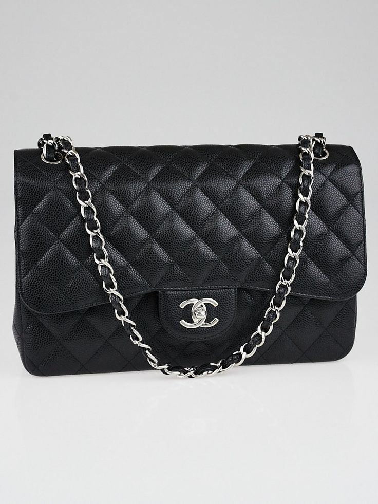 Chanel classic flap medium with caviar leather and silver hardware ... 9fd7a44cf8fcc