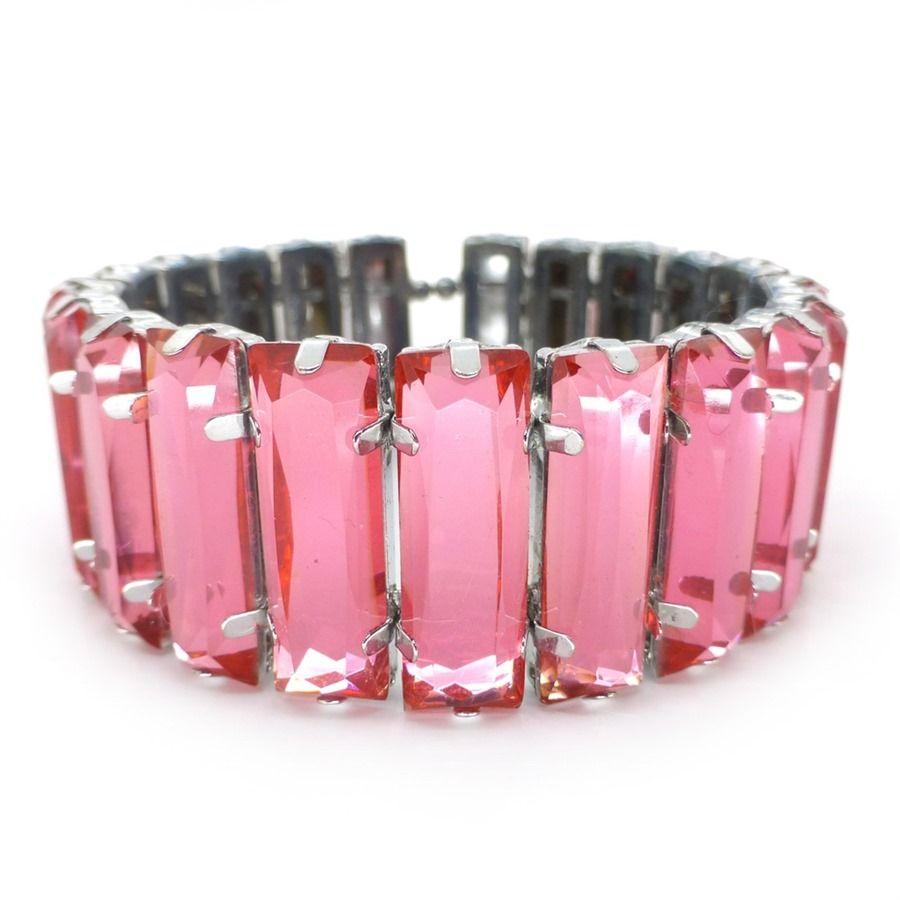 1950's Pink Glass Stone Bracelet | Clarice Jewellery | Vintage Costume Jewellery