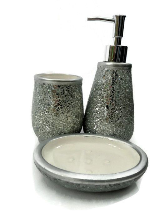 silver crackle bathroom accessories. Unbranded Solid Robe Hook Brass Bath Accessory Sets  EBay SILVER CRACKLE SPARKLE GLITTER 3 PCE SOAP DISPENSER TUMBLER