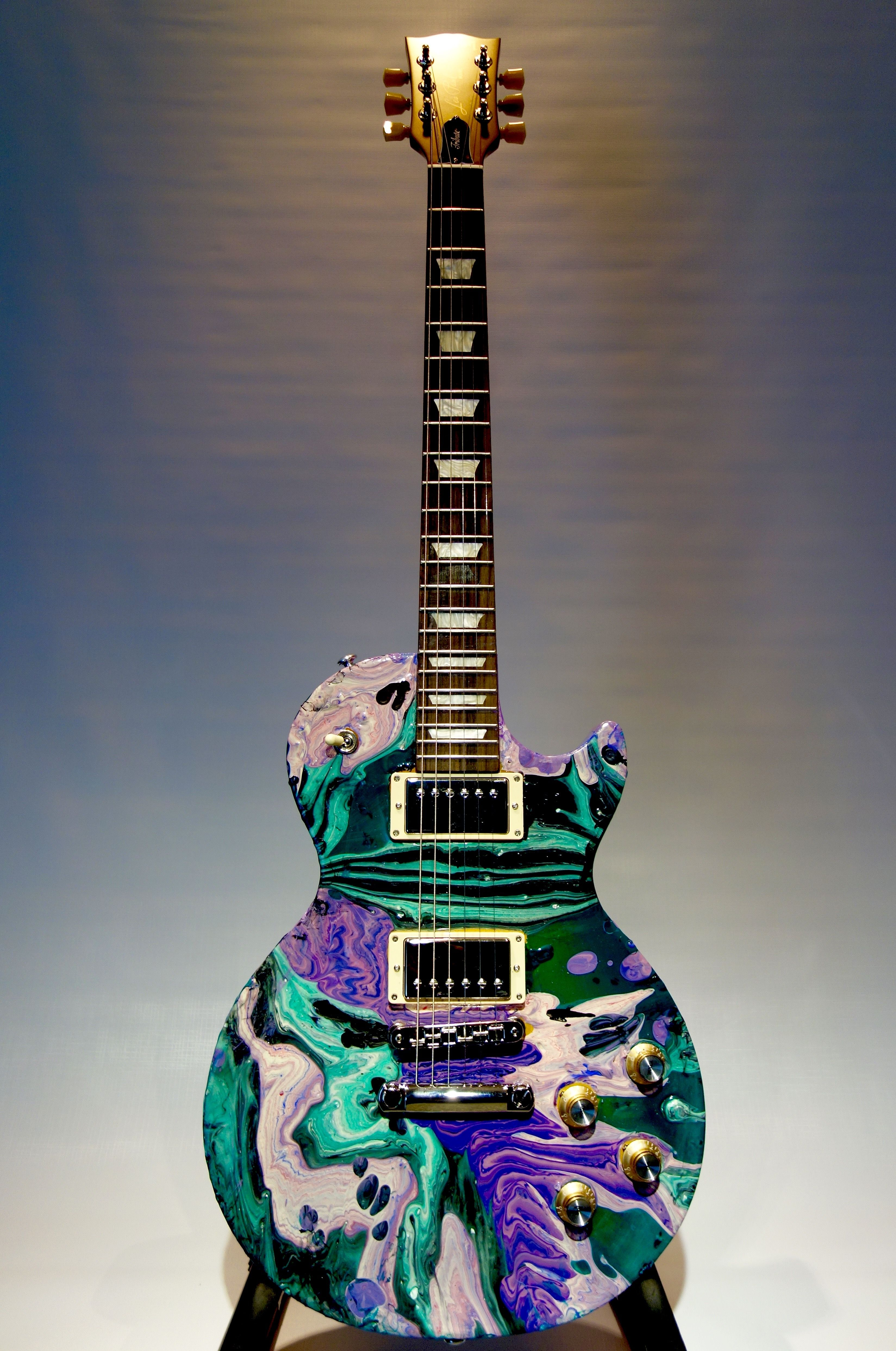 I Ve Been Playing Around With This Acrylic Finish Not Easy But Very Cool Guitar Art Guitar Painting Custom Electric Guitars
