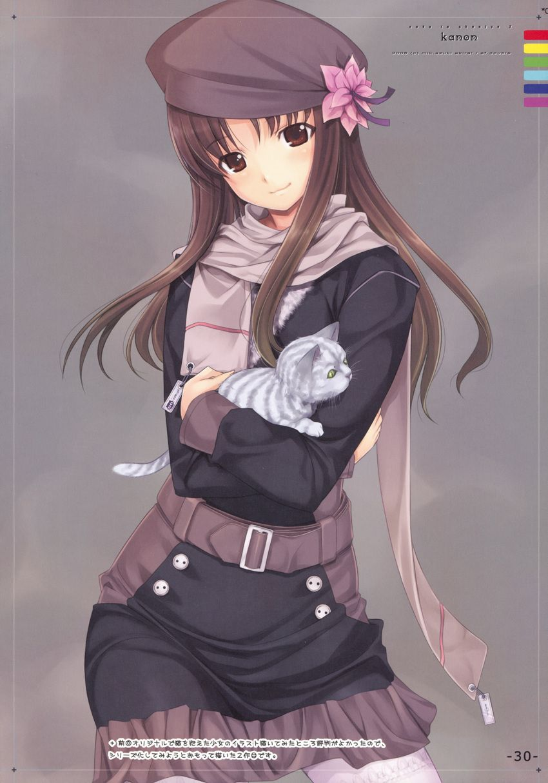 Belt Beret Brown Eyes Brown Hair Buttons Coat Flower Hat Kitten Long Hair Mikazuki Akira Neko Pantyhose Scarf Smile Con Imagenes Dibujos De Anime Dibujos Anime Manga