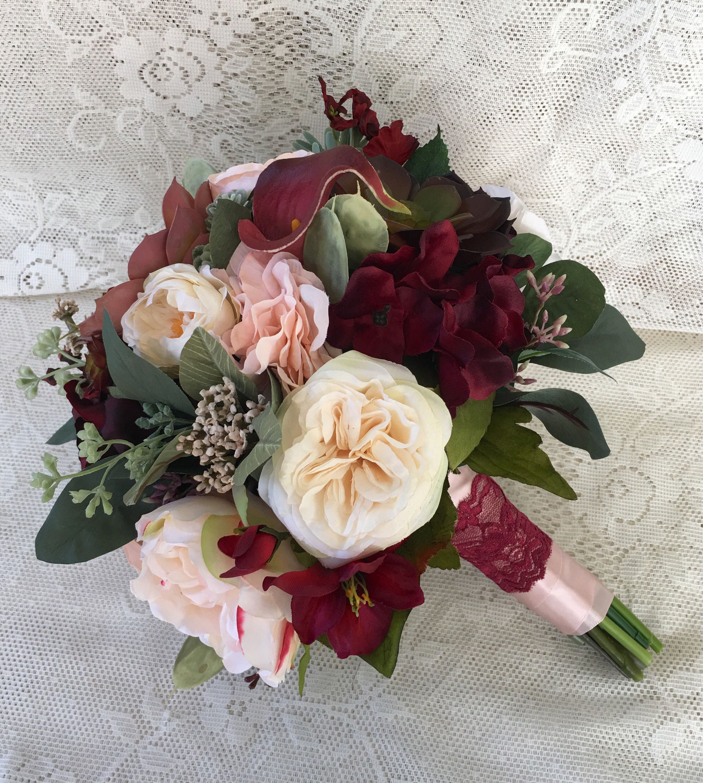Wedding bouquet,Bridal bouquet,Burgundy and Blush Wedding