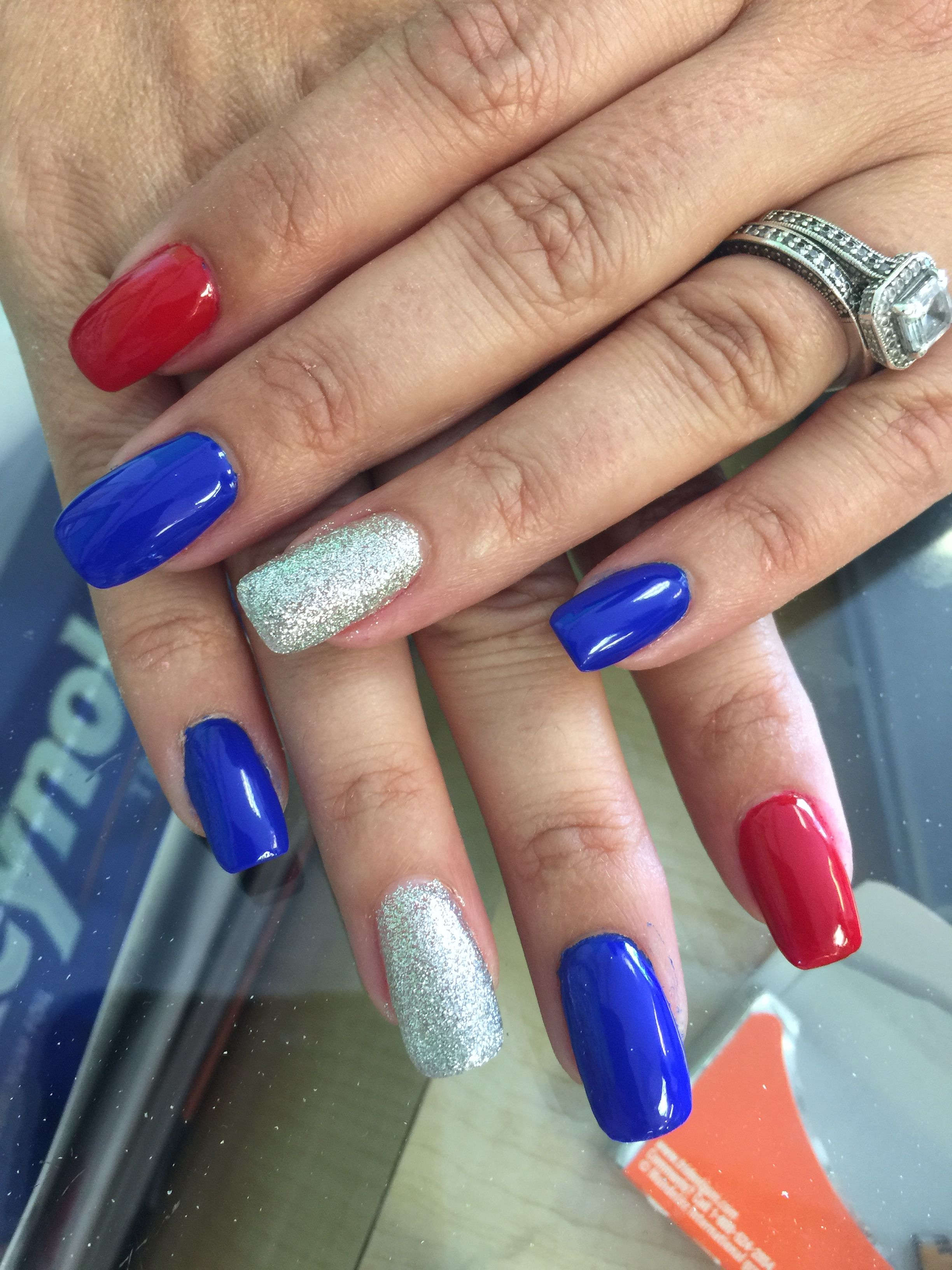 Blue Red And Silver Nails Colors Blue And Silver Nails Red And Silver Nails Red Nail Designs